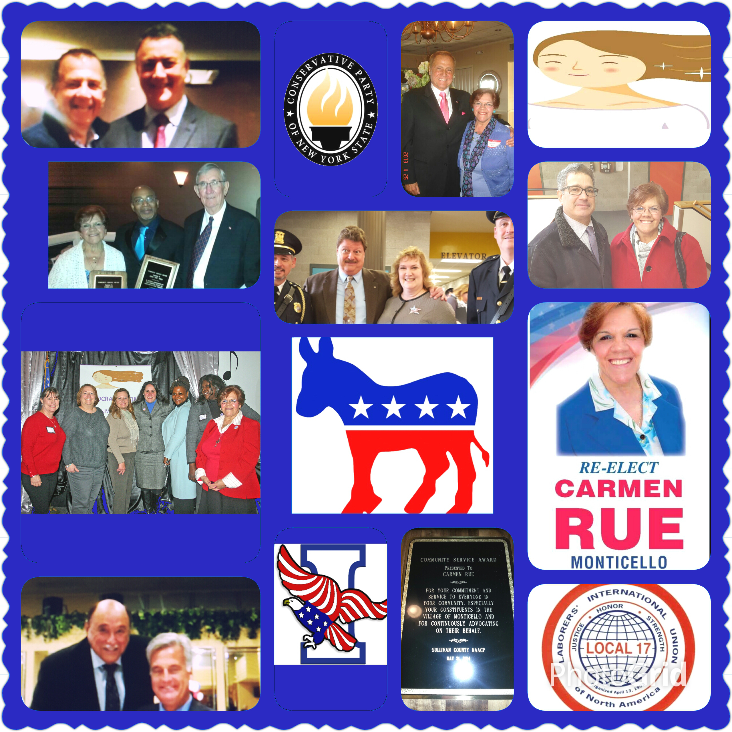 CLICK TO ENLARGE - Collage of people and organizations who have endorsed Trustee Carmen Rue's re-election