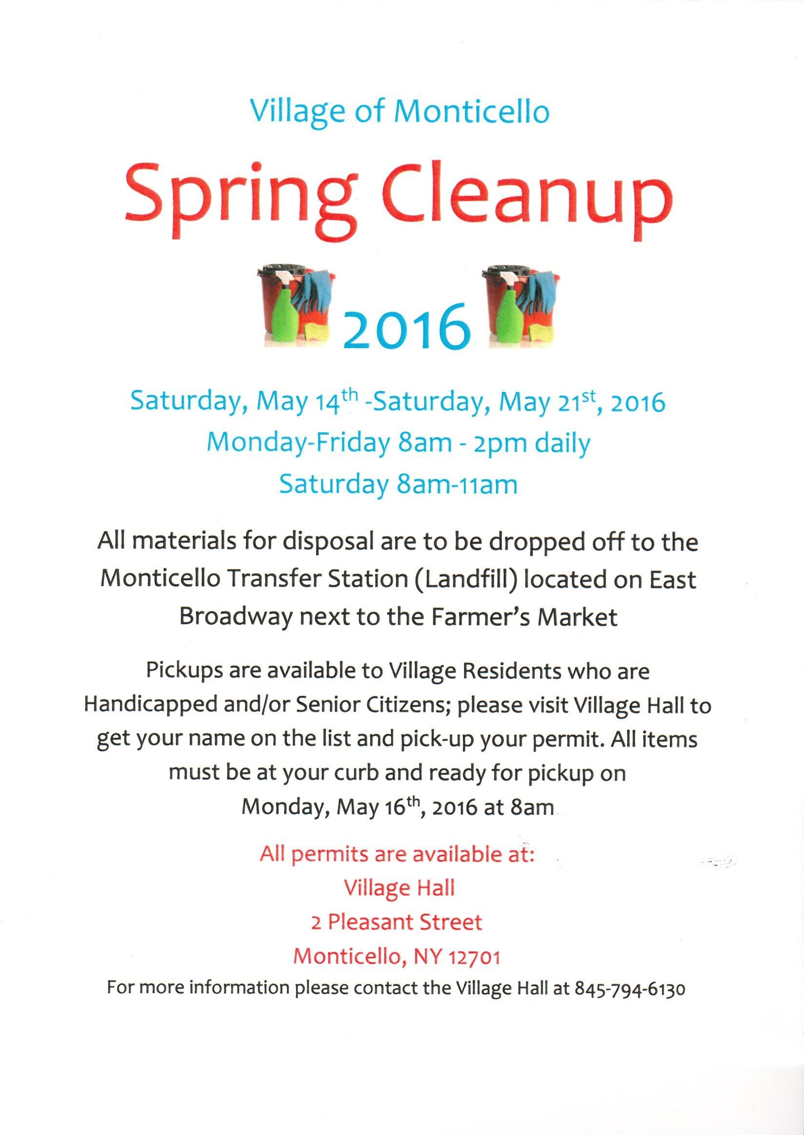 Flyer announcing spring clean-up for Village residents, May 14, 2016