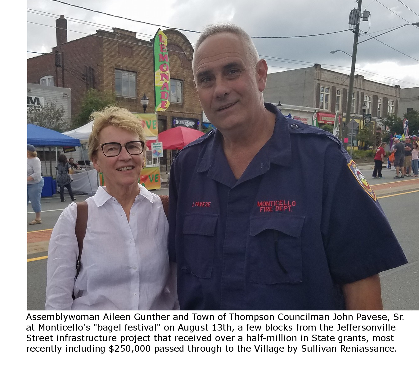 Assemblywoman Aileen Gunther and Thompson Councilman John Pavese, Sr. at Monticello's